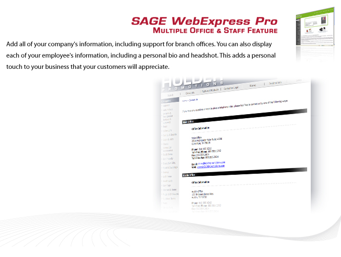 SAGE WebExpress Pro Features