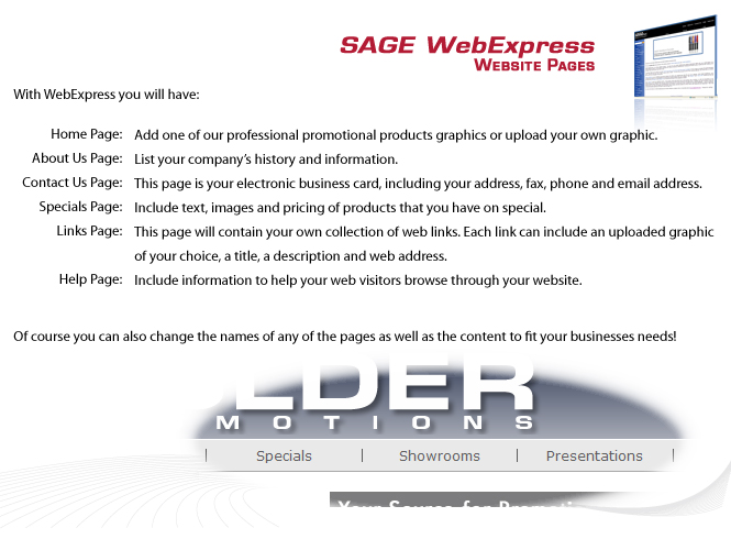 SAGE WebExpress Features