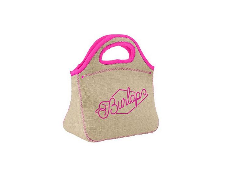 Burlap-Neoprene Lunch Bag