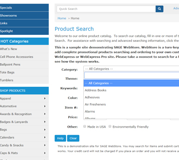 SAGE Product Searching