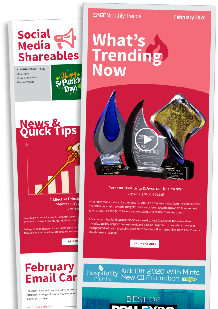SAGE Monthly Trends Email Ads